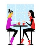 Two Girlfriends Drinking Coffee or Hot Chocolate Royalty Free Stock Photos