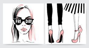 Vector girl in glasses. Stylish woman face stock illustration