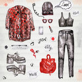 Fashion illustration watercolor of clothing Stock Photo