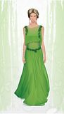 Fashion illustration whit girl in green dress. Chiffon green dress with embroidery Royalty Free Stock Image