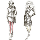 Fashion illustration winter style sketch Royalty Free Stock Image