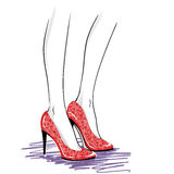 Fashion illustration with woman legs wearing  high heels shoes Royalty Free Stock Photo