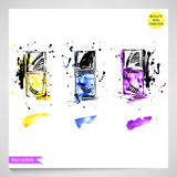 Fashion illustration with yellow, blue and purple nail polish. Stock Photos