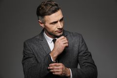 Fashion image of masculine man dressed in business suit looking. Ae, while fasten cufflink or button on sleeve of jacket isolated over gray background royalty free stock photos