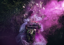Fashion image of sensual girl in bright fantasy stylization. Stock Photography