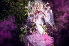 Fashion image of sensual girl in bright fantasy stylization. Stock Photos