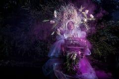 Fashion image of sensual girl in bright fantasy stylization. Royalty Free Stock Image