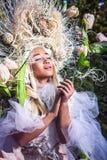 Fashion image of sensual girl in bright fantasy stylization. Royalty Free Stock Photos