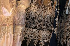 Fashion industry- manufacturing fancy gowns for luxury boutiques! royalty free stock photo