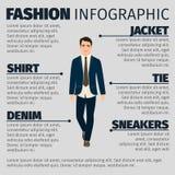 Fashion infographic with happy teacher man Royalty Free Stock Photos