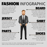 Fashion infographic with hipster man stock illustration