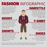 Fashion infographic with men in hoodie Stock Images