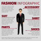 Fashion infographic with smiling man clerk Stock Image