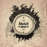 Fashion ink drawing splash elements label Stock Photo