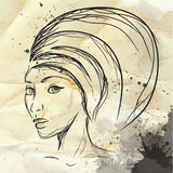 Fashion ink Illustration of a girl with a turban Royalty Free Stock Photo
