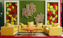 Fashion interior with colorful wall Royalty Free Stock Image