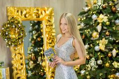 Fashion interior photo of beautiful gorgeous woman lady with blond hair in luxurious dress posing in room with Christmas tree and Stock Photos