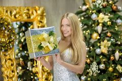 Fashion interior photo of beautiful gorgeous woman lady with blond hair in luxurious dress posing in room with Christmas tree and Stock Photography