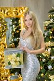 Fashion interior photo of beautiful gorgeous woman lady with blond hair in luxurious dress posing in room with Christmas tree and Stock Image