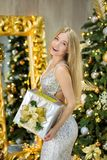 Fashion interior photo of beautiful gorgeous woman lady with blond hair in luxurious dress posing in room with Christmas tree and Royalty Free Stock Image