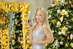Fashion interior photo of beautiful gorgeous woman lady with blond hair in luxurious dress posing in room with Christmas tree and Royalty Free Stock Photo