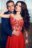 Fashion interior photo of beautiful tender couple Stock Photos