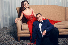 Fashion interior photo of beautiful tender couple Royalty Free Stock Photos
