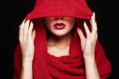 Fashion islamic style woman.red lips girl royalty free stock photography