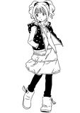 Fashion Japanese teen girl. Illustration,black and white,art,outline Stock Photos