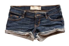 Fashion jean shorts lack ripped handmade with on white background. The Fashion jean shorts lack ripped handmade with on white background royalty free stock photography