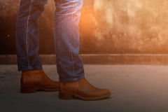 Fashion jeans and leather shoes. Royalty Free Stock Photography
