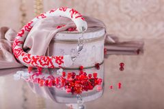 Fashion jewelry, beads, decorations Royalty Free Stock Photo
