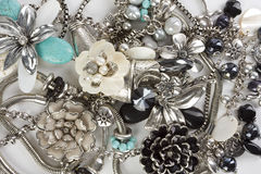 Fashion Jewelry. A collection of fashion accessories shown on white background Stock Photos