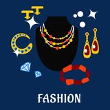 Fashion and jewelry flat icons Royalty Free Stock Images