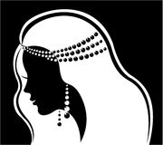 Fashion jewelry. Silhouette beautiful luxury woman. Portrait of beautiful girl in monochrome. Illustration for fashion jewelry salon. Profile silhouette of Royalty Free Stock Image