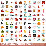 100 fashion journal icons set, flat style. 100 fashion journal icons set in flat style for any design vector illustration Stock Images