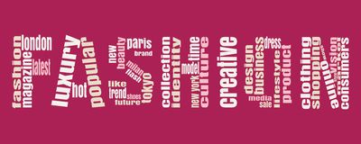 Fashion Keywords Tag Cloud. Fashion word consist of relative words. Keywords Cloud Royalty Free Stock Images