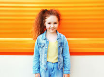 Fashion kid concept - portrait of stylish little girl child wear Stock Photos