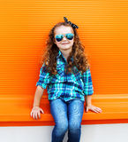 Fashion kid concept - portrait of stylish little girl child Stock Image