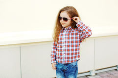 Fashion kid concept - portrait of stylish little girl child Royalty Free Stock Images