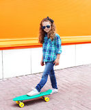 Fashion kid concept - stylish little girl child Royalty Free Stock Images