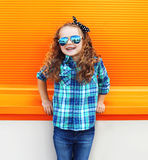 Fashion kid concept - stylish little girl child Stock Photography
