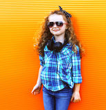 Fashion kid concept - stylish little girl child Stock Images