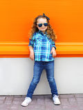 Fashion kid concept - stylish little girl child Stock Image