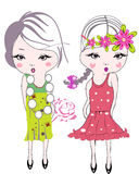 Fashion kid girls with flowers Stock Image