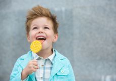 Fashion kid with lollipop near gray wall Stock Photos