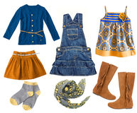 Fashion kid's clothing set.Collage of  child girl's clothes Stock Image