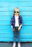 Fashion kid, stylish child wearing a sunglasses Stock Photos
