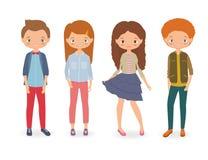Fashion kids. Cartoon vector illustration Stock Photography