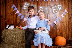 Fashion kids on easter Royalty Free Stock Photography